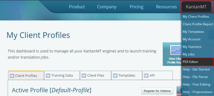 Client Profile, KantanMT, PEX Editor