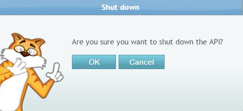 Shutdown Pop-up alert